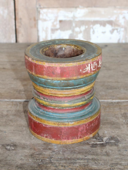 Hand Painted Rose Wood Mortar, South India circa 1900